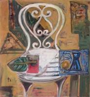 Weißer Stuhl mit Blatt | Öl auf Leinwand