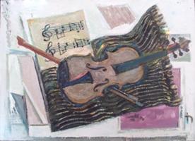 Musik (Stillleben mit Geige) | Öl auf Leinwand